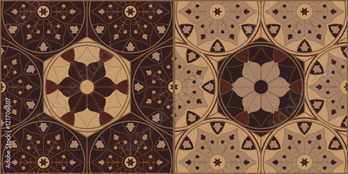 Fotografie, Obraz  Arabesque Wooden Ornamental Chess Tiles