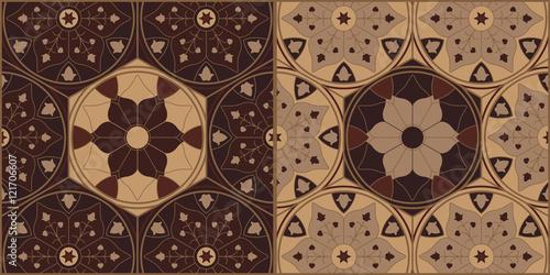 Fényképezés  Arabesque Wooden Ornamental Chess Tiles