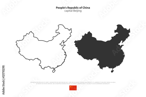 People's Republic of China isolated map and official flag icons Canvas Print