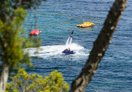 Spoed Foto op Canvas Water Motor sporten Monaco - SEPTEMBER, 2016. Fly board watershow