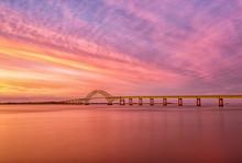 Robert Moses Bridge At Sunset