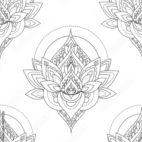Photo  Seamless vector vintage pattern with abstract lotus illustrations