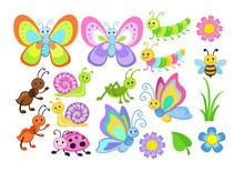 Vector Set Of Cute Cartoon Bugs