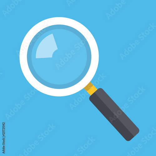Fototapeta Vector magnifying glass icon isolated on blue background obraz