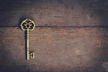Old Key Vintage On Wooden With...