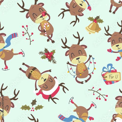 Stoffe zum Nähen Weihnachten Hirsch nahtlose Muster