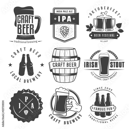 Foto  Vector craft beer badges and logos. Set of retro beer labels