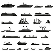Set Of Ships And Boats.