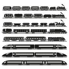 Trains Set. Vector Illustration.