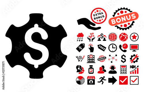 Financial Settings Icon With Bonus Pictures Vector Illustration Style Is Flat Iconic Bicolor Symbols Intensive Red And Black Colors White Background Buy This Stock Vector And Explore Similar Vectors At Adobe