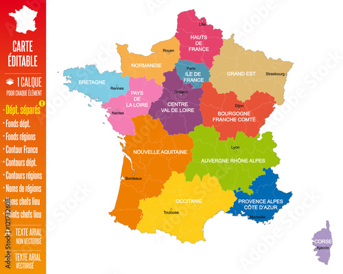Fotografie, Obraz  France - Nouvelle carte à 13 régions éditable