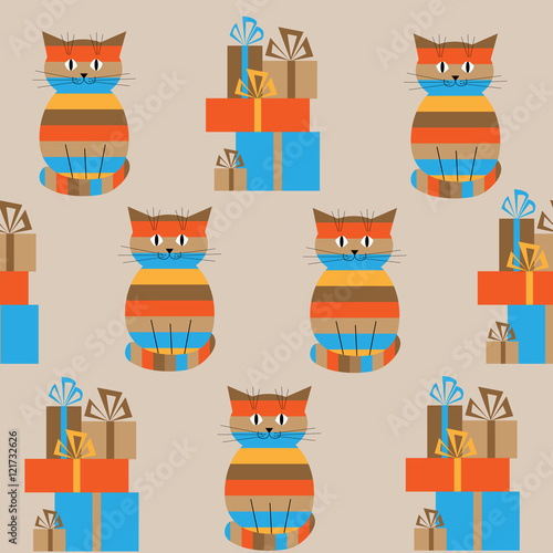 Seamless striped pattern with cute cats and gifts