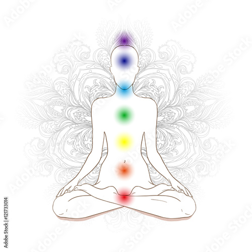 Photo  Chakras concept. Silhouette in lotus position over gray ornate m