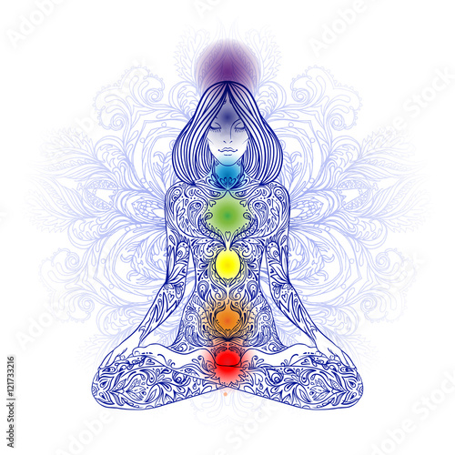 Photo  Woman ornate silhouette sitting in lotus pose. Meditation, aura