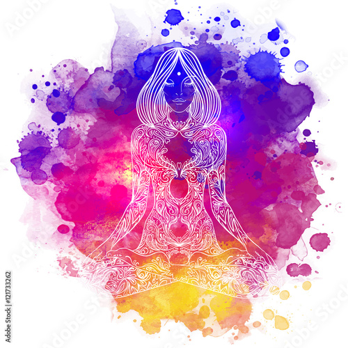 Photo  Woman ornate silhouette sitting in lotus pose. Meditation concep