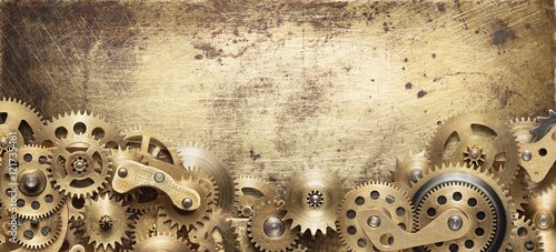 Fototapeta Mechanical collage made of clockwork gears