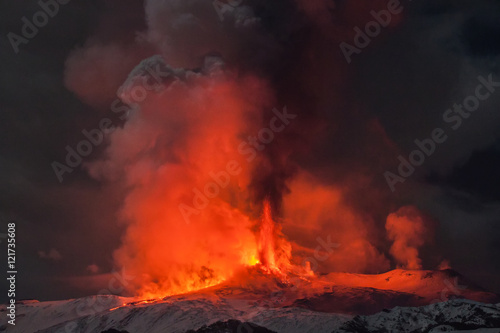 Foto op Canvas Diepbruine Volcano Etna eruption