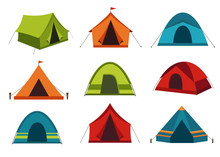 Set Of Camping Tent Vector Ico...