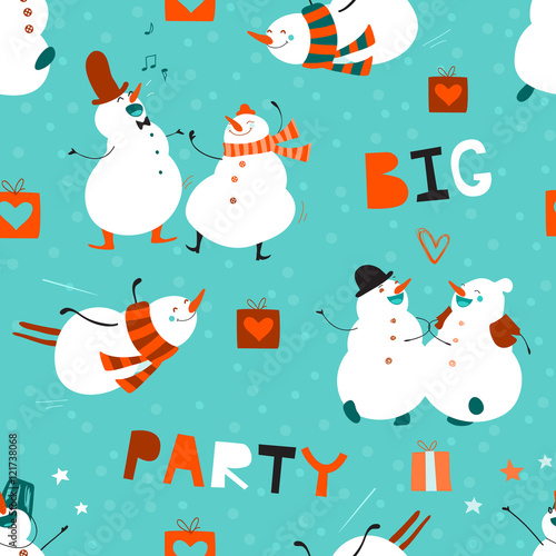 Cotton fabric Seamless pattern Big Party. Set of funny dancing snowmen. No effect. Creative hand drawn design with cute cartoon characters. Festive winter background suitable for fabrics, wallpaper, packaging, web