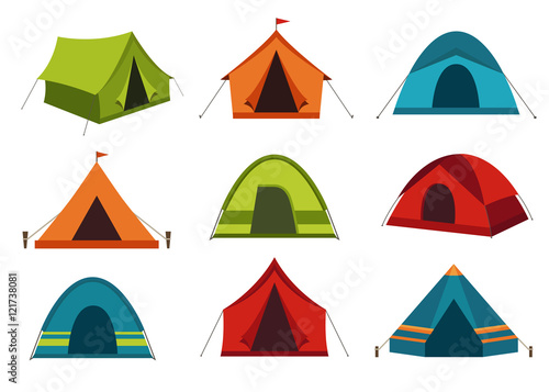 Foto Set of camping tent vector icons isolated on white background.