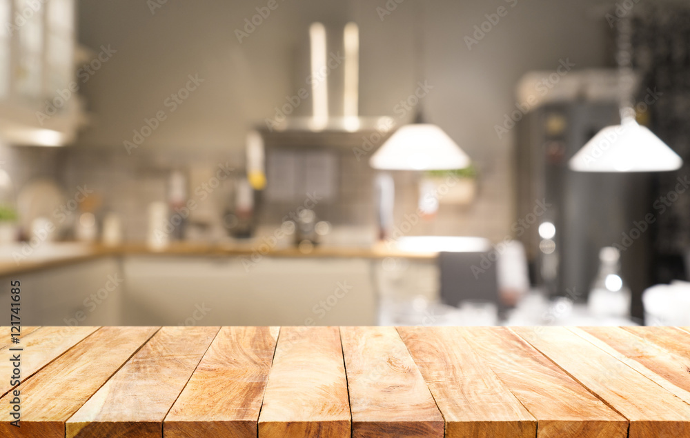 Fototapety, obrazy: Wood table top on light abstract from kitchen room background.