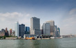 Manhattan Skyline view with Staten Island Ferry Whitehall Termin
