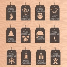 Modern Christmas Gift Tags With Hand Drawing Elements. Vector Illustration.