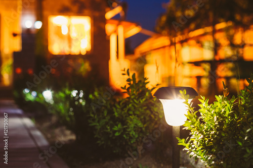 Poster Jardin Small Solar Garden Light, Lantern In Flower Bed. Garden Design.