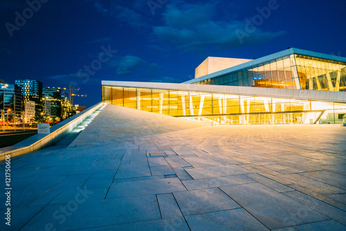Photo Oslo, Norway. Side View Of Brightly Illuminated Facade Of Opera