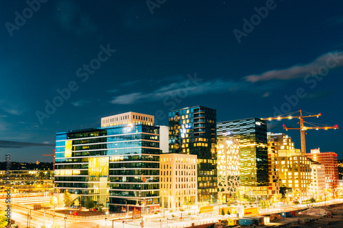 Oslo Norway. Night Panoramic View Of Contemporary District Of Hi Tablou Canvas