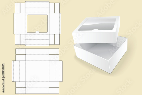 Box Template Packaging White Cardboard Vector Illustration Opened Package