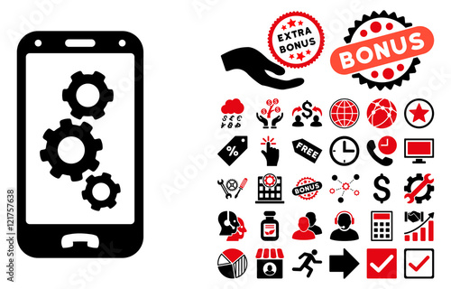 Smartphone Settings Icon With Bonus Pictogram Vector Illustration Style Is Flat Iconic Bicolor Symbols Intensive Red And Black Colors White Background Buy This Stock Vector And Explore Similar Vectors At Adobe