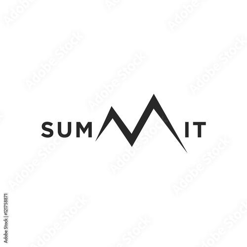 summit illustration and symbol, vector illustration of mountain, mountain logo Wall mural
