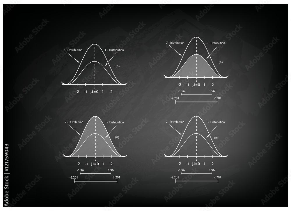 Fototapeta Collection of Positve and Negative Distribution Curve on Chalkboard - obraz na płótnie