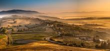 Sunrise With Fog Over Tuscan Village