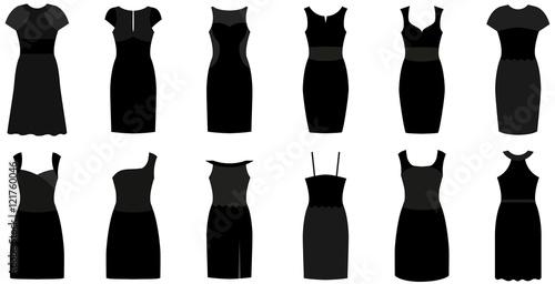 Fotografía  Set of twelve different elegant and expensive cocktail dresses