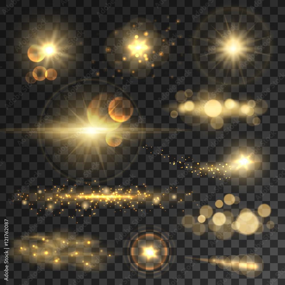 Fototapeta Golden glitter bokeh lights and sparkles