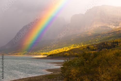 Fotografia, Obraz  Rainbow Fall Color Sherburne Lake Many Glacier National Park Mon