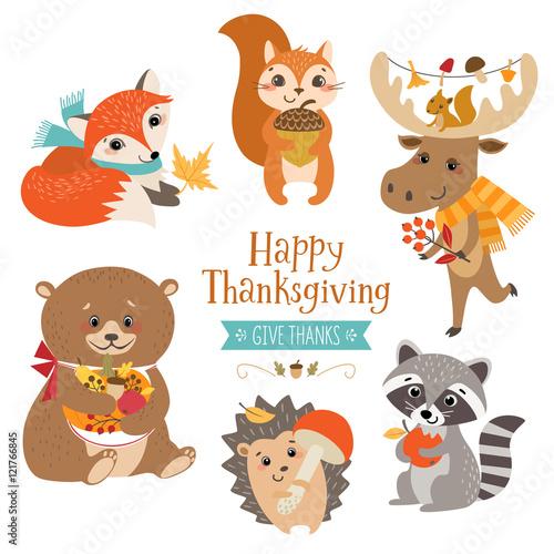 Fotografie, Obraz  Thanksgiving cute forest animals