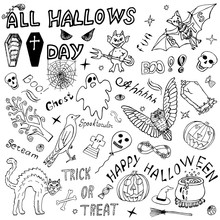 Happy Halloween: Hand Drawn Design Vector Set. Holiday Sketch Elements. Handmade Doodles. Congratulations On All Hallows' Day. Drawing Illustration.