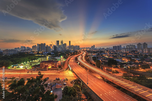 Recess Fitting Kuala Lumpur Kuala Lumpur city skyline on sunset ray of light sky