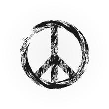 Grunge Peace Symbol. Broken Sign Pacifism. Rough Brush.