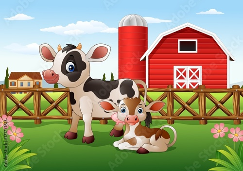 Cartoon cow and calf with farm background