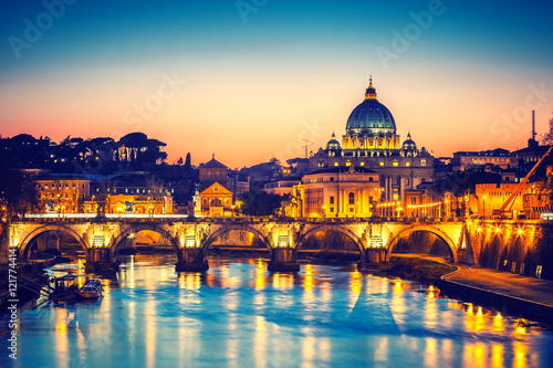 Poster Rome Night view of St. Peter's cathedral and Tiber river in Rome, Italy