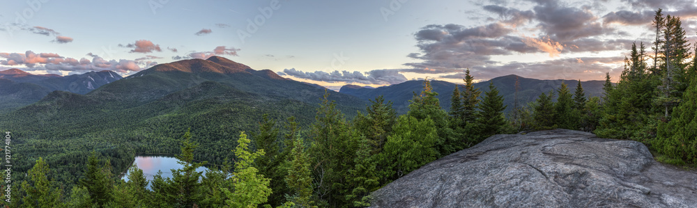 Fototapety, obrazy: High Peaks Sunset Panorama from Mount Jo