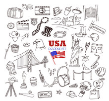 Hand-drawn Doodle Collection Of The Different American Objects, Buildings And Signs. Line Art Icons Set