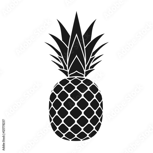 Pineapple with leaf icon Wallpaper Mural