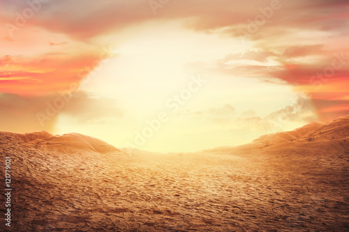 Poster de jardin Secheresse Sunset at desert