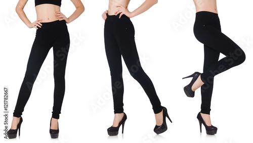 Plakat Czarni leggings w piękno mody pojęciu odizolowywającym na bielu