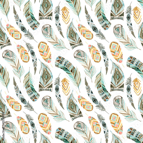 Cotton fabric Watercolor ethnic feathers seamless pattern